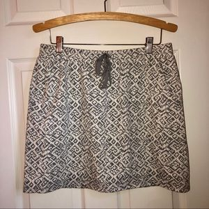 Ann Taylor Loft Grey & White Printed Tie Skirt